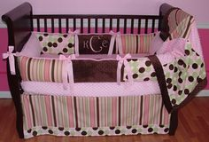 Sweet And Feminine Baby Girls Bedding Sets : Lovely Polkadot and Stripes Baby Girls Bedding Set Inspiration in Hot Pink and Light Pink Girls...