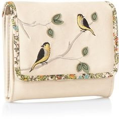 Pale Pink Bird Embroidered Flapover Purse ($18) ❤ liked on Polyvore