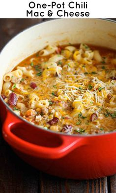 pasta dishes, one pot chili mac and cheese, one pot pasta, dinner ideas, comfort foods