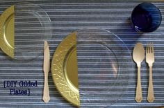 Spray paint the back of clear disposable dinner plates gold for a DIY gilded look that's safe to eat off of and looks fantastic!EASY CLEAN UP!