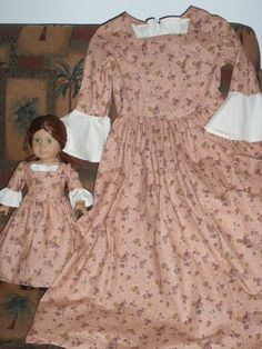 1770s  Matching Set  Colonial Gown Dress by alohagirldollclothes, $82.50