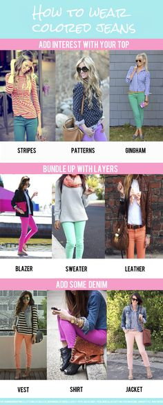 Different ways to wear colored jeans- the CAbi Spring Collection has some colored and printed jeans that are SO cute!!