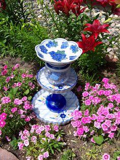 garden art, homemade bird bath from garage sale finds