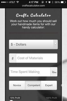http://craftscalculator.com/ How to price crafts
