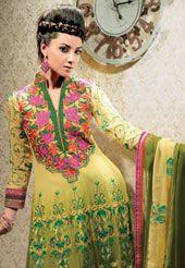 Shaded Green Faux Georgette Anarkali Churidar Kameez With Dupatta
