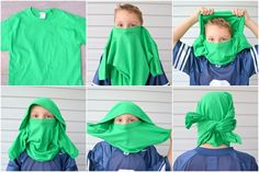 ninja mask out of a t-shirt.  Love this, how clever.  I'm sure I will need it at some point...