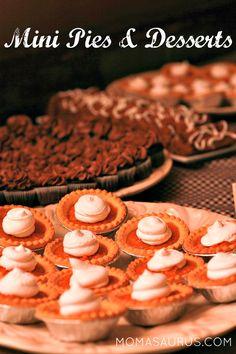 Party Planning Ideas-Mini Dessert Table  Individual mini desserts and pies #partyplanning #dessert