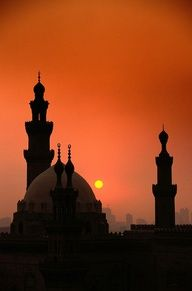 Mosques at sunset in Cairo