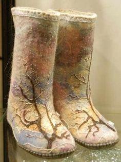 russian winter, felted shoes, winter footwear, art, valenki boot