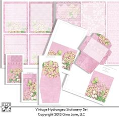 Do it  yourself, handmade, printable stationery -  Lists, Note Pad Covers, Note Cards, Folded Note Cards, Envelope, Post It Note Purse - Designed to fit the 2x5 and 5 x 8 Note Pads sold at Walmart stores - Shabby Chic, Vintage, Hydrangea, Rose, Butterflies, Ephemera Theme floral - cottage garden theme stationery - Gina Jane Designs - DAISIE Company