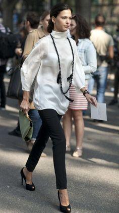 sweater, street style, white shirt