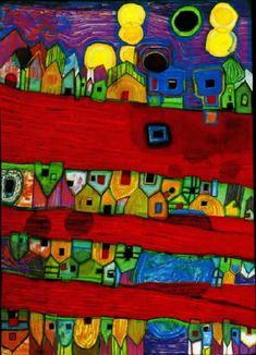 Friedensreich Hundertwasser- Red Streets-