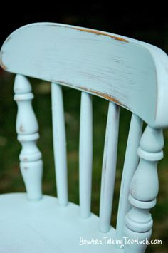 """Spray paint color is almost identical to Annie Sloan """"Duck Egg"""".  The color is Valspar La Fonda Mirage (flat) and when lightly sanded, it has a chalk paint finish."""