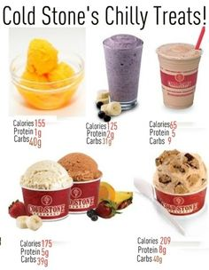 I don't know about you but every time I'm walking through the mall, the smell of Cold Stone ice cream attacks my cravings and pulls me toward the counter! Here are a couple of healthier options vs. the high calorie treats.     1. Cold Stones Lemon Sorbet! There are several other flavors of sorbet with a common nutritional value.    2. Sinless Smoothies! Berry Banana!     3. Iced Latte Sweet Cream with Non Fat Milk and No Whipped Topping    4. Cold Stones Frozen Yogurt! This is an average of a...