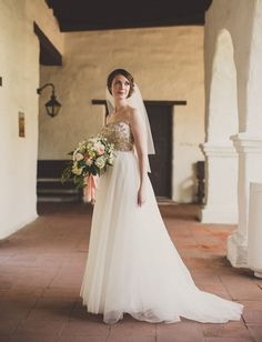 gold top wedding dress by Anna Maier