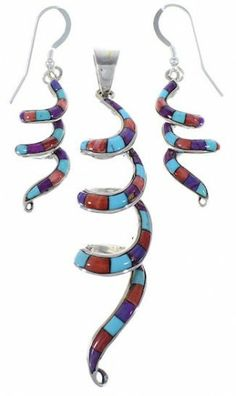 Multicolor Jewelry | Pendant Earrings Set | Southwest Jewelry | Spiral Jewelry