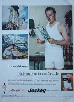 1950s ad Mens Underwear JOCKEY Undershirt & Boxers