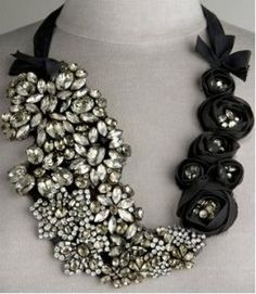 vera wang, black necklace, statement necklaces, ribbon, jewelry accessories, diy necklace, bibs, bib necklaces, jewelri