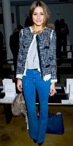 Olivia Palermo  WHAT SHE WORE  Palermo viewed the Peter Som collection in a tweed jacket that she styled with bright bell-bottoms, gold jewelry and black heels