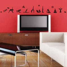 yoga room, inspir wall, vinyl piec, damag wall, wall decals, yoga exercises, durabl vinyl, yoga wall, mini wall