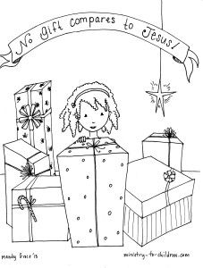 """No Gift Compares to Jesus!"" Coloring Sheet for Children"