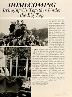 """Athena Yearbook, 1997. """"OHIO Homecoming Parade, Above: Ohio University cheerleaders and fans join together in the Homecoming spirit before the game, Below: The members of Sigma Phi Epsilon and Phi Mu know how to celebrate on their float during the homecoming parade"""", Fall 06', Ohio University Archives"""