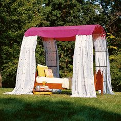 Room With a View - Garden Arches & Curtain Panels canopi, adirondack chairs, beds, outdoor rooms, outdoor living, garden shade, gardens, garden arches, backyard
