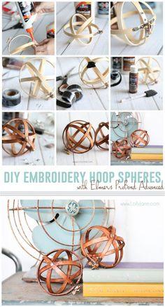 DIY Embroidery Hoop Spheres. Easiest decor you'll ever make! :) via lollyjane.com