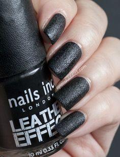 leather nail, leather fashion, nailsinc dior, nail polish, leather effect nails, leather skirts, beauti, black, nails inc
