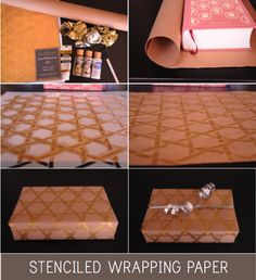 Stenciled wrapping paper project with our Royal Design Cane Basketweave stencil