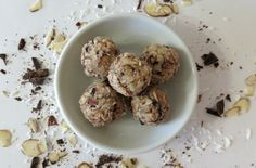 Almond Joy Cookie Balls - A healthy, raw cookie chock full of almonds, coconut and chocolate. The perfect replica of an Almond Joy Candybar.