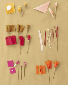 crepe paper flowers and stamens on Martha's site
