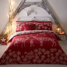 Fusion Reindeer Family Christmas Reversible Duvet Cover Set, Red, Double