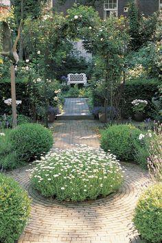 narrow garden, garden decor, pathway, arbors, brick, garden paths, daisi, walkway, backyard