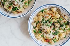 Orecchiette with Bacon, Peas and Herbs