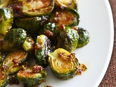 Roasted Brussels Sprouts with Cranberry Pistachio Pesto by Steamy Kitchen