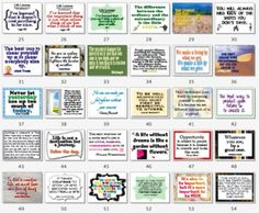 63 Classroom Signs/Posters Quotes, Character Ed, Sports {Black/white & color for a total of 126!} Start the day talking about one of the quotes from the signs! $