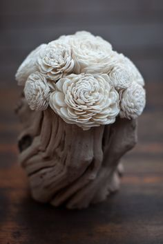 I love these crema balsa wood flowers.