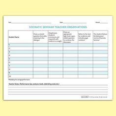 "FREE! This ""Socratic Seminar Teacher Observations (Summary)"" is designed as a guide to enable a teacher to quickly document individual student performance on key parameters and summarize whole class performance. Five behavioral objectives are clearly stated. The guide also includes an area for debriefing notes."