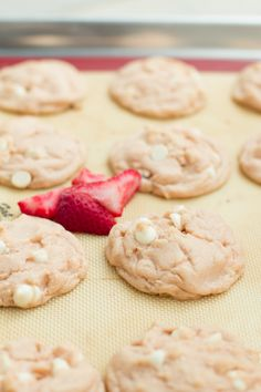 the BEST strawberries and cream cookies ohsweetbasil.com