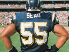 Junior Seau, the kid from Oceanside who was drafted from USC by the Chargers in 1990, was considered to be one of the best players to never win a Super Bowl. The 12-time Pro Bowl linebacker, photographed on the sidelines during a home game in San Diego in 1996, went on to play for Miami and New England.