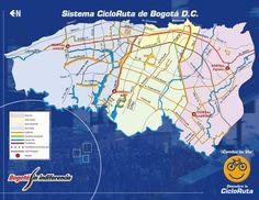 Ciclorrutas de Bogotá  Fuente:Transito de Bogotá