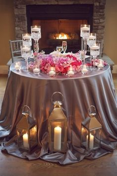 glam use longer table cloths when add floor accessories valentine wedding, sweetheart table, lantern, floating candles, bridesmaid flowers, wedding ideas, grey weddings, grooms table, head tables