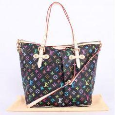 2012 NEW louis vuitton handbags LV m40144 one shoulder bag black monogram multicolore