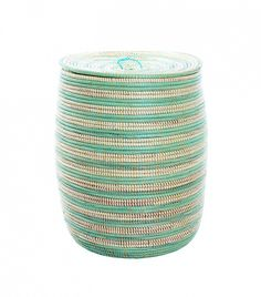 Wolof Weavers Sea Foam Stripe Tall Hamper ($148)