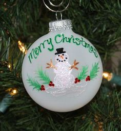 "Personalized Snowman Ornament by FlutterbyConnections, a member of Etsy's ""A Handcrafted Christmas"" Team.  Visit Flutterby's Etsy shop for a huge variety of ornaments, many of which can be personalized!   #Christmas   #Personalized   #Ornaments   #Handcrafted"