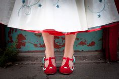 Shoes by Irregular Choice, wedding dress by Whirling turban with custom embroidery