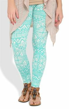 Deb Shops #Legging with #Teal and White #Aztec Print $14.90
