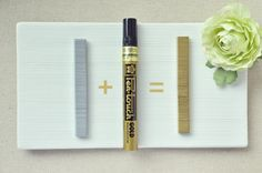DIY Gold Staples in a Pinch!  A paint pen can change your staples for those special items like invitations and programs. Good idea!