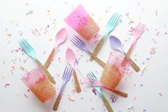 Pastel Pool Party // DIY Glitter Utensils - Bicyclette Boutique